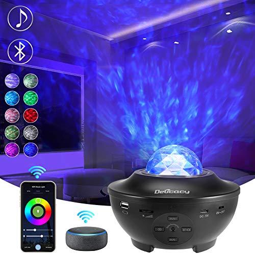 Delicacy WiFi Sternenlicht Projektor, Rotierende Ocean Wave Nachtlicht Projektor mit Bluetooth, LED Nebelfleck...