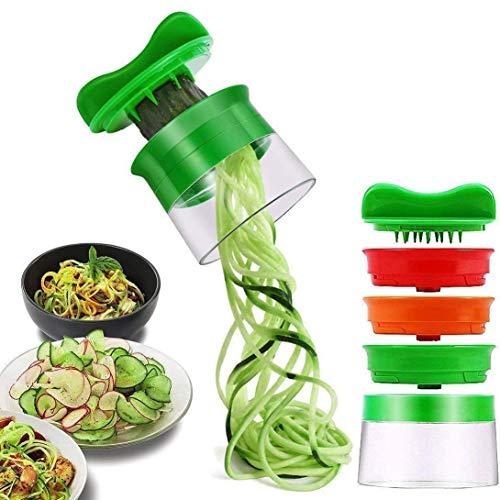 ELIRIVAWET Spiralschneider Hand für Gemüsespaghetti, 3-Klingen Gemüse Spiralschneider, Gemüsehobel für...
