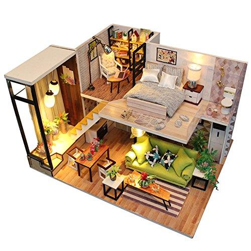 Oshide Puppenhaus Süß Haus DIY House mit Licht als Kinder Geschenk (Maisonette)