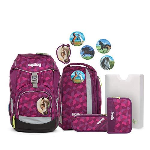 Ergobag Pack NachtschwärmBär - Lila, ergonomischer Schulrucksack, Set 6-teilig, 20 Liter, 1.100 g, Lila