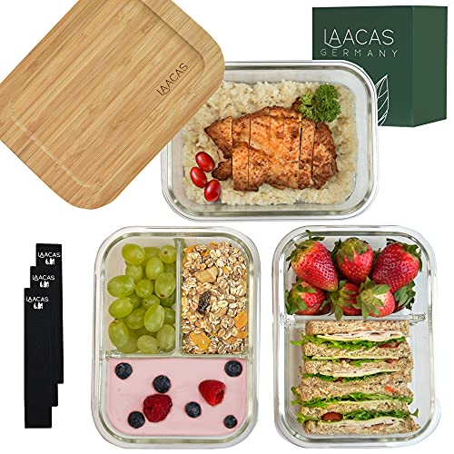 LAACAS Glas Frischhaltedosen [3X Meal Prep Boxen] - Glasbehälter mit Deckel aus Bambus und 1,2 & 3 Fächer -...