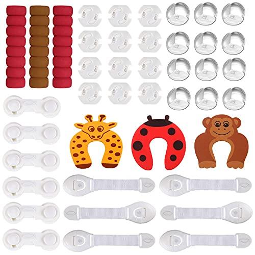 Baby Sicherheit Set Baby Kindersicherung Set mit Steckdosenschutz Eckenschutz verstellbare Schranksicherung...