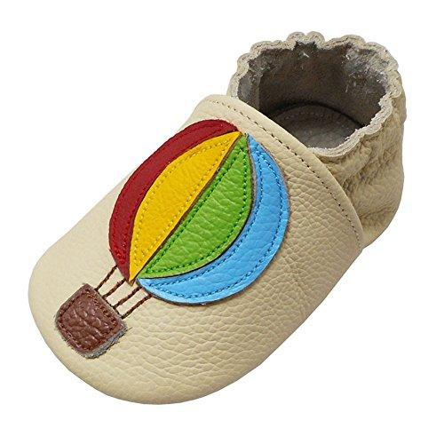 YALION Baby Weiche Leder Lauflernschuhe Krabbelschuhe Hausschuhe Lederpuschen mit Heißluftballon (2-3 Jahre,...