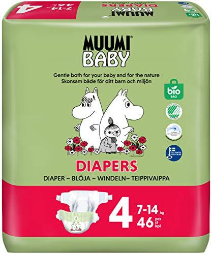 Muumi Baby Öko Windeln Größe 4, 7-14 kg, 46 Empfindliche Premium Windeln