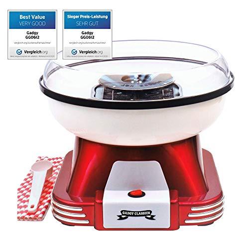 Gadgy ® Zuckerwattemaschine für Zuhause | Retro Cotton Candy Machine | mit Zucker oder Zuckerfreie Harte...