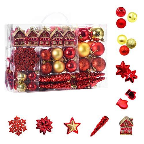 WEYON 113 Stück Christbaumkugeln Set Weihnachtskugeln aus Kunststoff Golden & Rot Baumschmuck Weihnachtsbaum...
