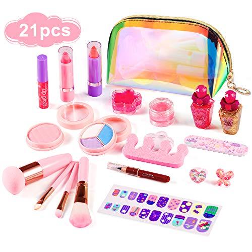 ARANEE Kinderschminke Set 21 Stück Waschbar Schminkset Spielzeug Kosmetiktasche Makeup Set Mit Glitter...