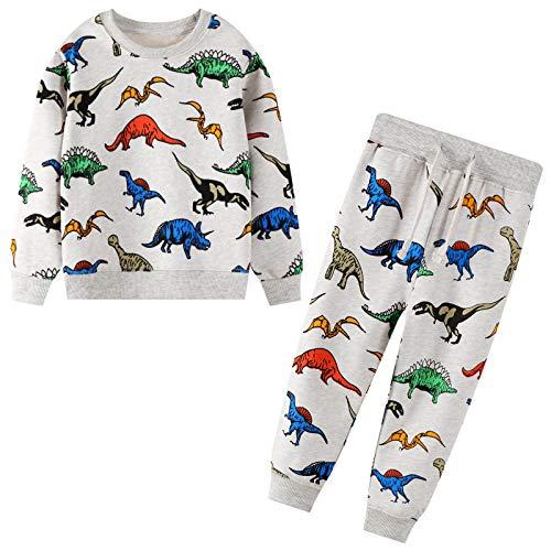 JinBei Trainingsanzug Set für Kinder Jungen Dinosaurier Drucken Jogginganzug Pullover und Hosen Anzug...