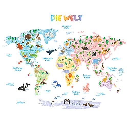 DECOWALL DAT-1615SDE Tedesco Mappa del Mondo Animali (Grande) Adesivi da Parete Decorazioni Stickers Murali...