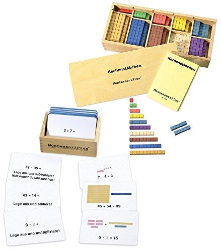 Montessori-Material Zahlenraum bis 100 inkl. Rechenstäbchen u. 100 Aufgabenkarten mit Selbstkotrolle