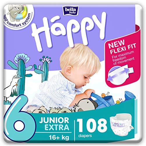 bella baby Happy Windeln Größe 6 Junior Extra 16+ kg, 1er Pack (1 x 108 Stück) mit maximalem Schutz und New...