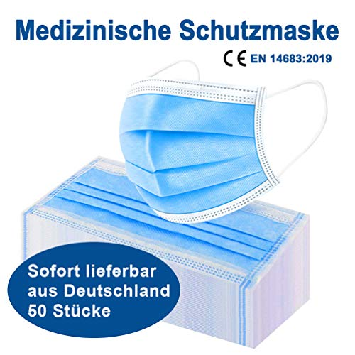 50 x Raysen medizinische Mundschutz Maske, Gesichtsmaske, Atemmaske, Mund Nase Schutz, Hygienemaske, 3-lagig,...