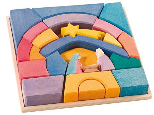 OSTHEIMER 5510099 Regenbogen Krippe 23teiliges Set aus Holz