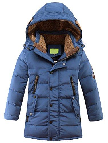 Vogstyle Jungen Winterjacke mit Kapuze Jacken Blouson Kinder Kapuzenparka Warm Blouson Wintermantel, Blau,...