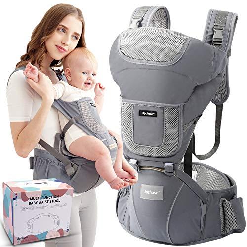 Upchase Ergonomische Babytrage Bauchtrage, Reine Baumwolle Vorderseite Rückseite Kindertrage, 6 in 1...
