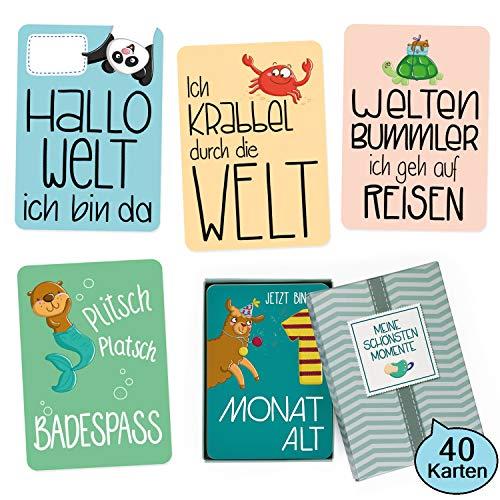 GLÜCKSWOLKE - 40 Baby Meilensteinkarten mit Motivauswahl