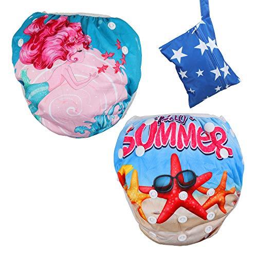 Lictin Schwimmwindel Baby 2-teilig Baby Schwimmhose Baby Badewindelhose Schwimmwindel junge für Kleinkinder...