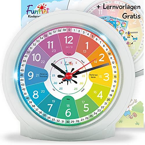 Funtini Kinderwecker-Set ◆ lautlos ◆ neu auf dem Markt ◆ ohne Ticken mit Nachtlicht | Kinder-Wecker mit...