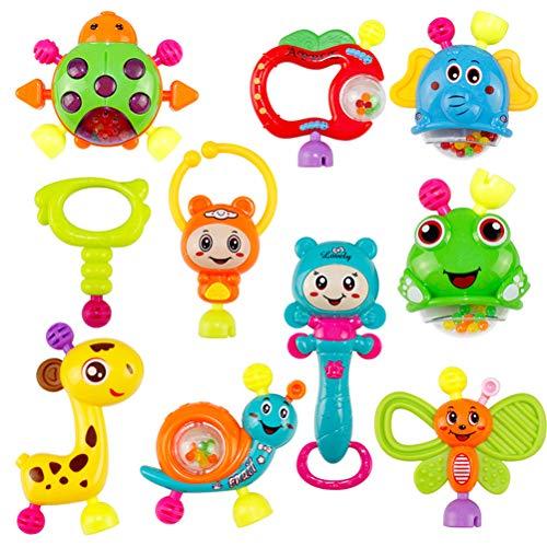Yissma 10pcs Baby Rassel und Beißring Spielzeug mit Geschenk Set für frühe Lernspielzeuge