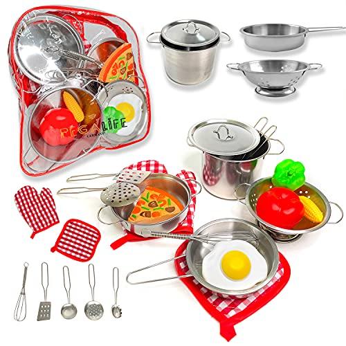 Kinderküche Outdoor Zubehör | 17-teiliges Kinderküchen-Set: Edelstahl-Kochgeschirr samt Kochhandschuh und...