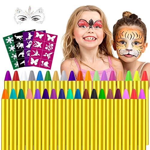 Gesichtsfarbe, 36 Farben Kinderschminke Set,Gesicht Körper Malerei Kits Sicher und Ungiftig Kinderschminke...