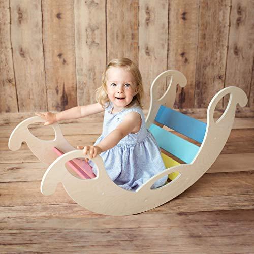 "Kinder Wippe ""Jumbo Rainbow"" aus Holz – handgefertigt, ideal zum Balancieren, fördert Motorik und..."