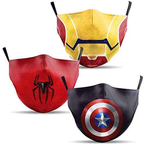 Mundschutz Maske mit Superhelden Motiv – 3er Baumwoll Masken bunt, lustig, komisch – für Männer, Frauen...