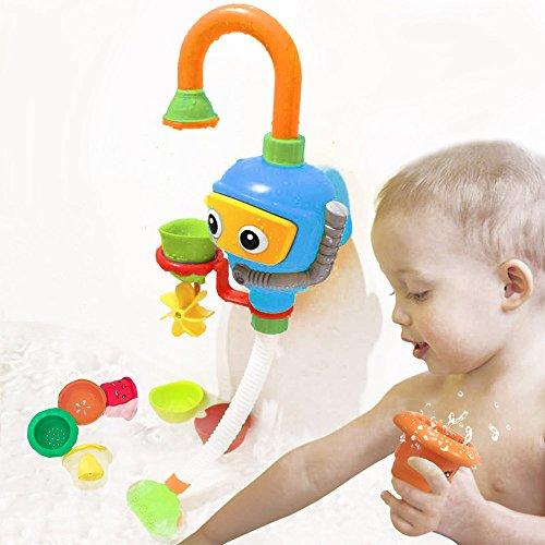 WISHTIME Kinder Wasser Dusche Badespielzeug - Badewanne Brunnen Spielzeug 3 Stackable and Nesting...