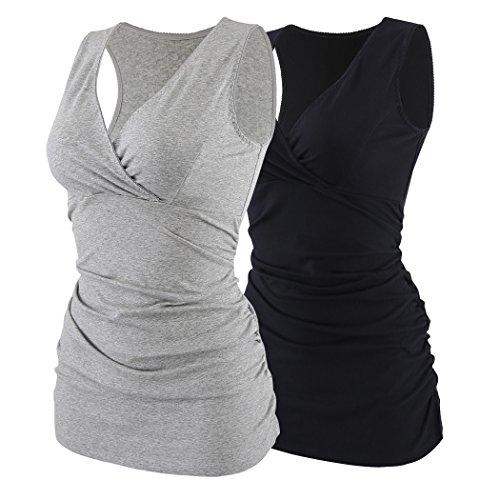 ZUMIY Still-Shirt/Umstandstop, Schwangeres Stillen Nursing Schwangerschaft Top Umstandsmode Unterwäsche,...