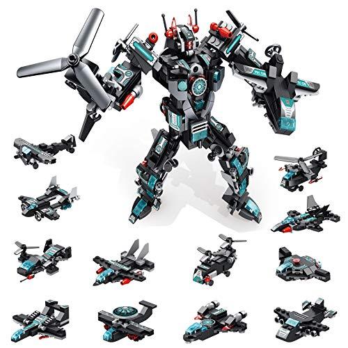 MOONTOY STEM Spielzeug, 577 PCS Roboter Spielzeug für 6-jährige Jungen, 25-in-1-Space-Fighter-Bausteine für...