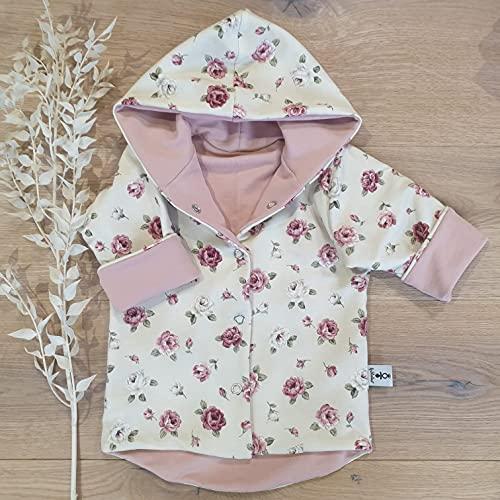 Wende Jacke - Cremegelb Vintage Blumen/Rose - Baby Mädchen Jacke Übergangsjacke von 2 Seiten tragbar