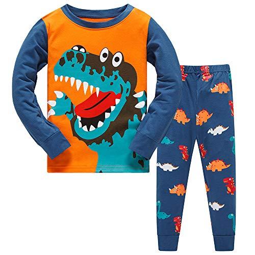 Schlafanzüge für Jungen Weihnachten Pyjamas Kinder Zweiteiliger Dinosaurier Baumwolle Schlafanzüge