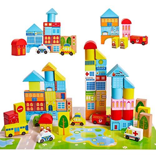 Onshine 62 Teile Bunte Holzspielzeug Holzbausteine Bauklötze Holz Baby Kinder bausteine mit Steckbox Koffer
