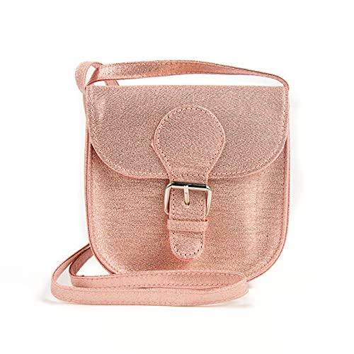 Inca. Handtasche für Mädchen, rosa glänzend, mit Schnalle in der Mitte, Umhängetasche für Mädchen, mit...