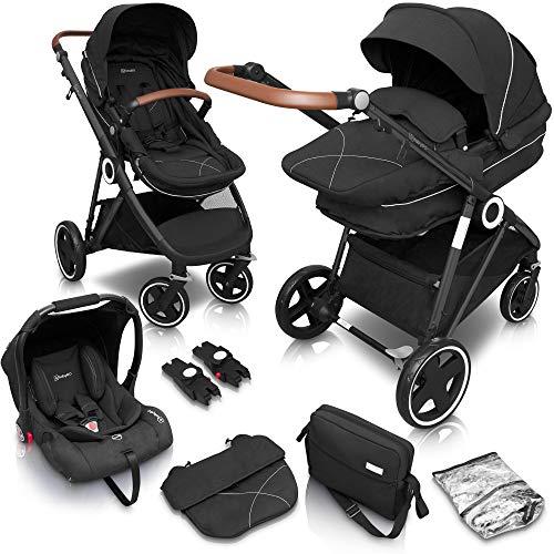babyGO Halime Kinderwagen 3 in 1 - Kombikinderwagen Komplettset mit Babywanne, Buggy Sportsitz und...