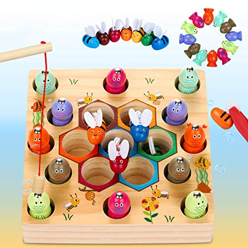 Dookey Magnetische Angelspiel Holzspielzeug 2 in 1 Montessori Lernspielzeug Magnettafel Fischspielzeug aus...