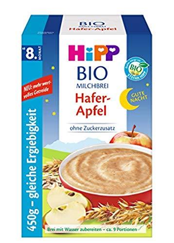 Hipp Bio-Milchbreie ohne Zuckerzusatz-Vorratspackung, ab 8. Monat, Gute-Nacht-Brei Hafer Apfel, 4er Pack (4 x...