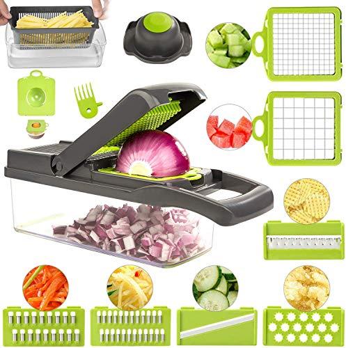 ROVE Gemüseschneider Set 11 in 1 Zwiebelschneider Obstschneider Kartoffelschneider Hand Gemüsehobelfür...