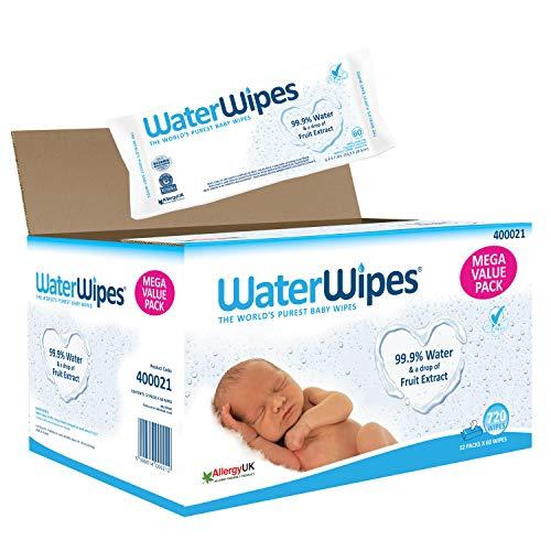 WaterWipes 400021 Baby Feuchttücher Empfindliche Haut, 99,9% gereinigtes Wasser, 12 x 60 Feuchttücher (720...