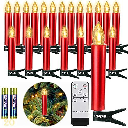 20er rot LEDKerzen, LichterketteKerzen Weihnachtskerzen Weihnachtsbaum Kerzen mit Fernbedienung Kabellos,...