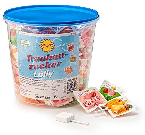 Frigeo Traubenzucker-Lolly in drei Geschmacksrichtungen: Erdbeer, Tropic und Kirsch, 100 Stück im Eimer (750...