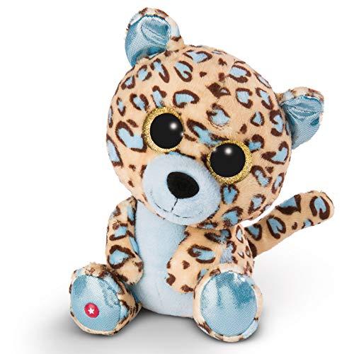 NICI Glubschis Kuscheltier Leopard Lassi 25cm, Plüschtier mit großen Glitzeraugen 45566, braun/blau