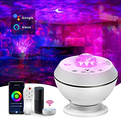 Alexa Sternenhimmel Projektor, Smart LED Starry Projector Light, 360° Galaxy Sternenlicht Ozeanwellen...