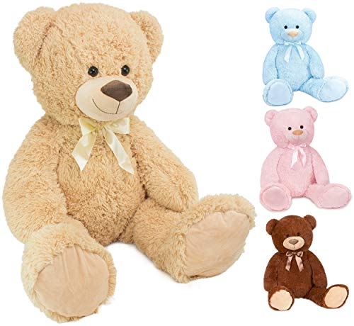 Brubaker XXL Teddybär 100 cm groß - Beige - Stofftier Plüschtier Kuscheltier