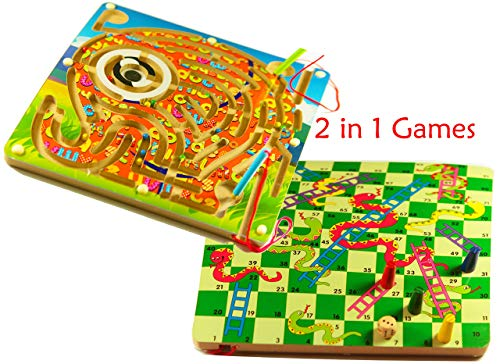 Toys of Wood Oxford 2-in-1 Holz Brettspiel Labyrinth und magnetisches Kugelspiel Elefant - Holzbrettspiel für...
