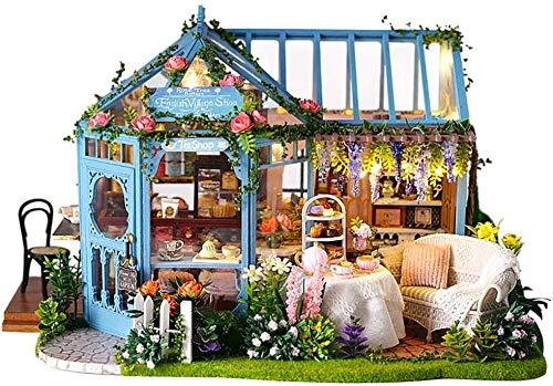 QLKJ DIY Mini Puppenhaus Holz MöBel Kit Rose Garden Teehaus-Handgemachte Cottage FüR Die Montage...