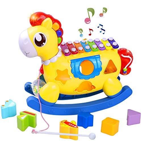 STOTOY Baby Xylophon Spielzeug , 5 in 1 Einstein Babyspielzeug 12-18 Monate,Kinderspielzeug mit Bausteinen,...