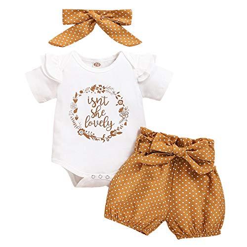 Baby Mädchen Sommer Outfit Kleinkinder Kurzarm Rüschen Body Strampler Shirt + Blumen Drucken Shorts Kurze...