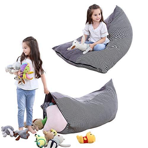 iFCOW Sitzsack Kinder Spielzeug Stofftier Aufbewahrung Sitzsack faltbar extra große Tasche Streifen Stuhl...