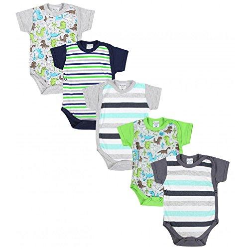 TupTam Baby Jungen Kurzarm Wickelbody Baumwolle 5er Set, Farbe: Farbenmix 3, Größe: 56